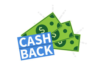 Cash Back icon. Isolated on white background. Cashback or money refund label. Vector illustration.