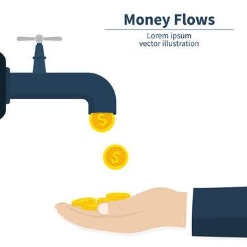 Cash flow concept. Gold coins fall. Catch money hand. Achievement success. Finance faucet. Vector illustration.