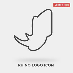 rhino logo icon on grey background, in black, vector illustration, security of nature