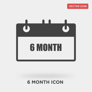 6 month icon on grey background, in black, vector icon illustration
