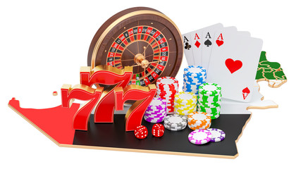 Casino and gambling industry in UAE concept, 3D rendering