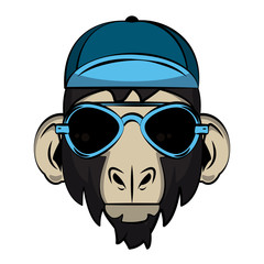 Cool hipster monkey head cartoon vector illustration graphic design