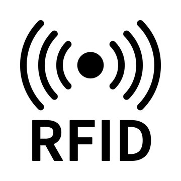 RFID or radio frequency identification with horizontal radio waves line art vector icon for apps and websites