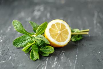 Mint and lemon. Ingredients. The concept is healthy food, vegetarianism, diet, vitamins.