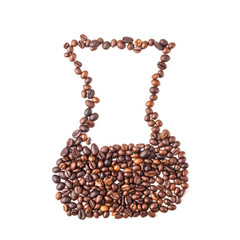 Chemex image made up of coffee beans on a white background