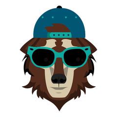 Cool hipster wolf head cartoon vector illustration graphic design
