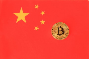 Bitcoin on the China flag