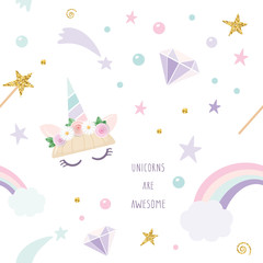 Unicorn magic seamless pattern background with rainbow, stars and diamonds. For print and web.
