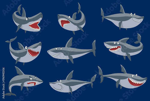 Vector funny cartoon shark fish swimming imal sea isolated shark character underwater cute marine wildlife mascot. Scary smile cool evil monster shark character funny predator