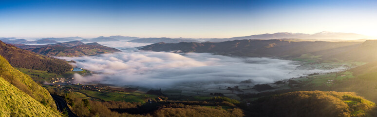Aluminium Prints Lavender Dawning under the fog and a frost the valley of Orduña, Spain