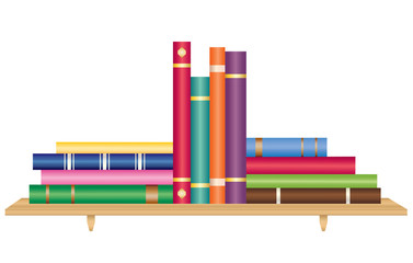 Stack of books on bookshelf vector