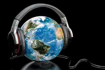 Earth Globe with wireless headphones, world music concept. 3D rendering