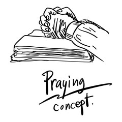 close-up hand praying on bible vector illustration sketch hand drawn with black lines isolated on white background