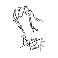 close-up hand praying vector illustration sketch hand drawn with black lines isolated on white background