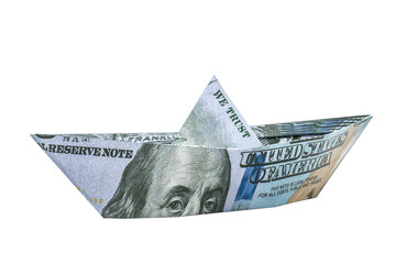 Ship from American dollar banknote. 3D rendering