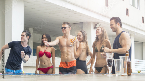 85aaf1bc9a004 friends having party and dancing in a swimming pool - Fashion of summer  beach bikini slim
