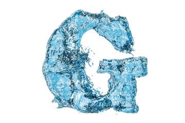 Water letter G, 3D rendering