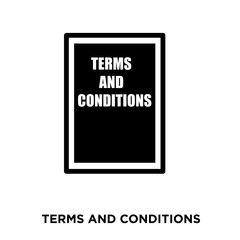 terms and conditionsicon on white background, in black, vector icon illustration