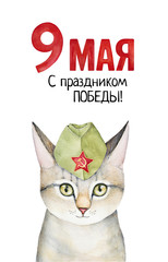 "Victory Day card design with tabby cat portrait in green camouflage headwear, date writing (9 May) and ""Happy Victory Day!"" congratulation in Russian language. Handdrawn watercolour illustration."