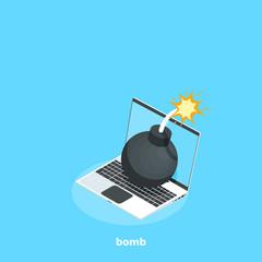 bomb with burning wick on laptop, isometric image