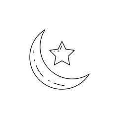 crescent moon and star icon. Element of Arab culture icon for mobile concept and web apps. Thin line  icon for website design and development, app development. Premium icon