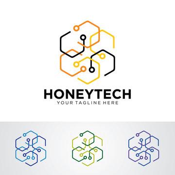 Honey Tech Logo Template Design Vector, Emblem, Design Concept, Creative Symbol, Icon
