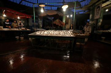 Vendors wait for customers at a fish market  near the canal of Port Said