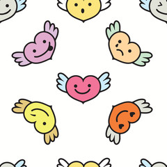 Hearts with wings ,faces with different emotions
