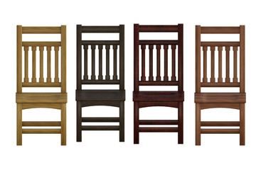 Set os wooden chairs isolated on white. 3d renders
