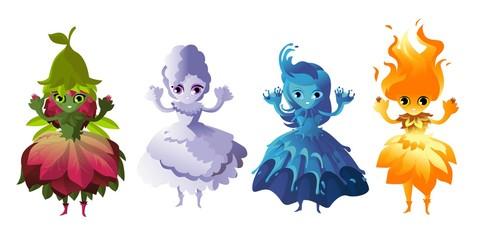 elements cute characters