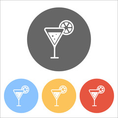 cocktail with lemon slice icon. Set of white icons on colored ci