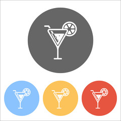 cocktail. simple silhouette. Set of white icons on colored circl