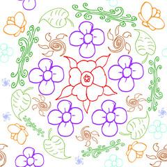 flower hand drawn vector pattern seamles