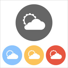 sun and cloud. Set of white icons on colored circles