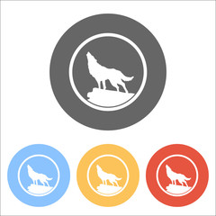 wolf. simple icon. Set of white icons on colored circles