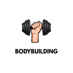 Dumbbell. Hand holding weight. Bodybuilding inscription. Vector illustration.