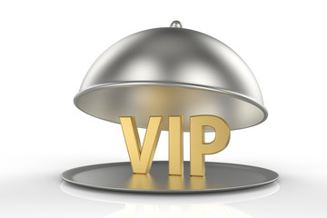 Restaurant cloche and golden word VIP inside. 3D illustration