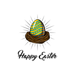 Easter greeting card, bird nest and color eggs. Vector design.