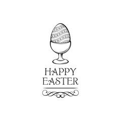 Easter Egg holder with HAPPY EASTER inscription. Vector illustration.