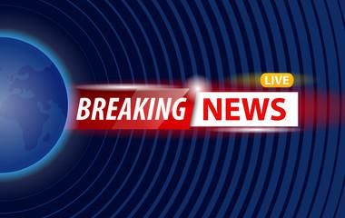 Shiny banner of breaking news live logo against world illustration on blue.