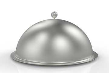 Silver Restaurant Cloche isolated on white background. 3D illustration