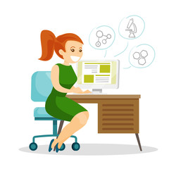 Young caucasian white cheerful female student sitting at the table and working on a computer. Education technology concept. Vector cartoon illustration isolated on white background. Square layout.