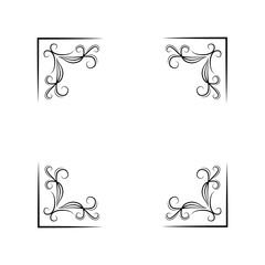 Floral corners set. Swirls, filigree elements. Decoration. Black on white. Vector.