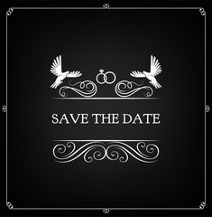 Save the date. Wedding invitation. Diamond rings, swirls, doves. Vector.