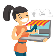 Young caucasian white woman doing online shopping. Happy woman making order of shoe through a laptop in virtual shop. Online shopping concept. Vector cartoon illustration isolated on white background.