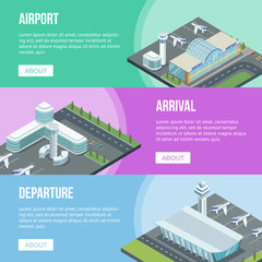 Isometric viewof airport buildings and jets on different colored banners.
