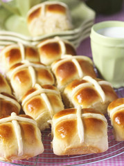 Homemade Easter traditional hot cross buns.