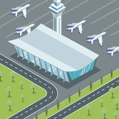 Isometric viewof modern airport terminal building and planes from above.