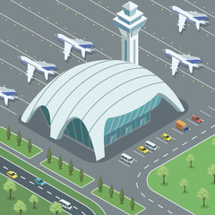 Isometric viewof airport terminal with parking lot and modern airplanes.