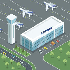 From aboveisometric view of airport building with airplanes and parking lot.